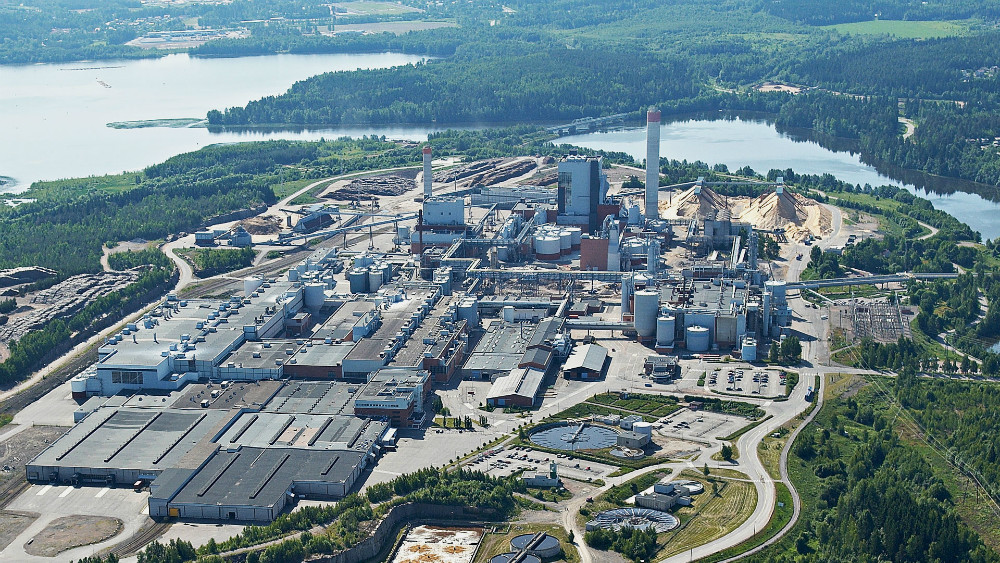 Aerial view of the factory in Savonlinna, Finland.