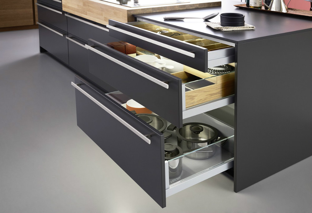 The Grass model Nova Pro Scala drawer, installed in the Leicht Kitchen.