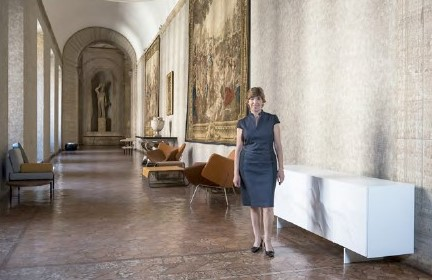 Catherine Colonna, French Ambassador in Italy, near the Buffet Snow (designer Erwan P�ron) produced by Roche Bobois, at Embassy in Palazzo Farnese, Rome.