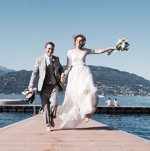 Ilaria and Diego on the pier in Baveno/Lake Maggiore/Italy. Photo Luca Cepparo