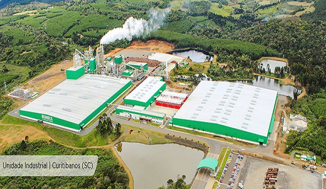 Aerial view of the plant in Curitibanos, Brasil.