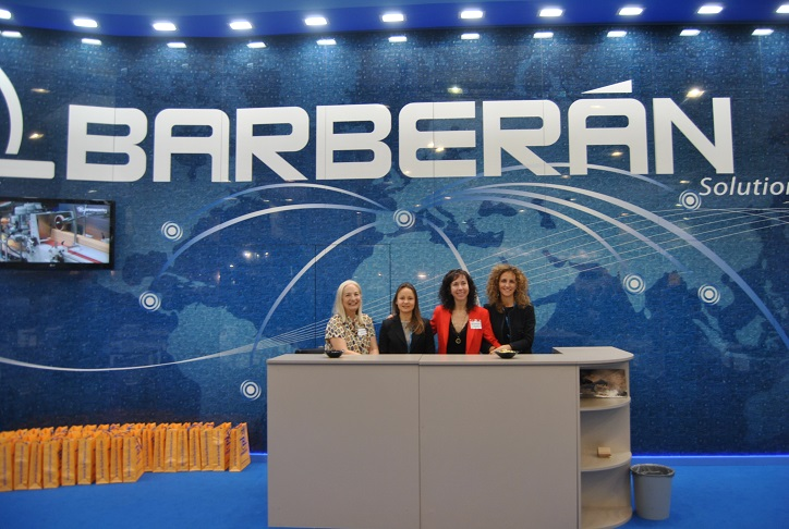 Some ladies Barberán at booth Ligna. From Left, Elena Taborner, Irina Karlamova, Sandra Cugat and Olga Latorre. Photo Datalignum