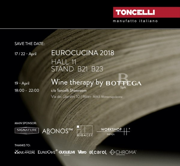 "TONCELLI ITALY, AT THE ""SALONE DEL MOBILE"" MILAN, HALL 11 BOOTH B21"