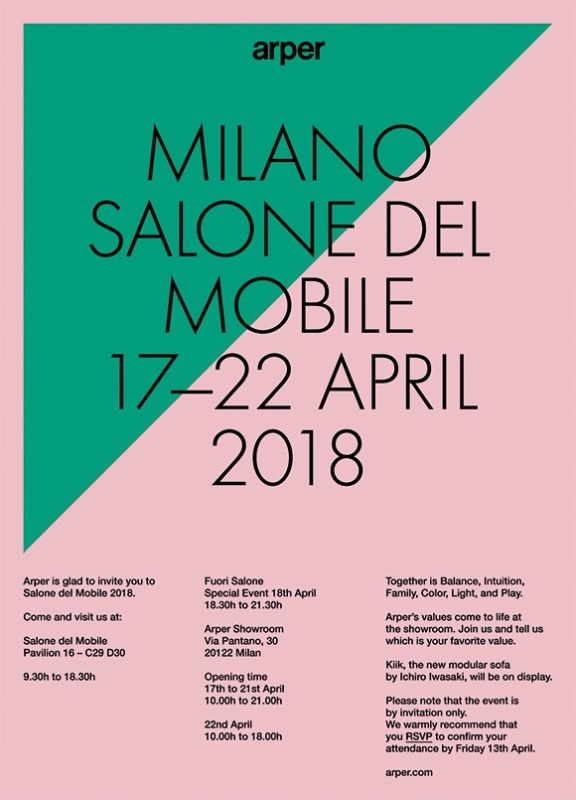 "ARPER ITALY, AT THE ""SALONE DEL MOBILE"" MILAN, HALL 16 BOOTH C29"