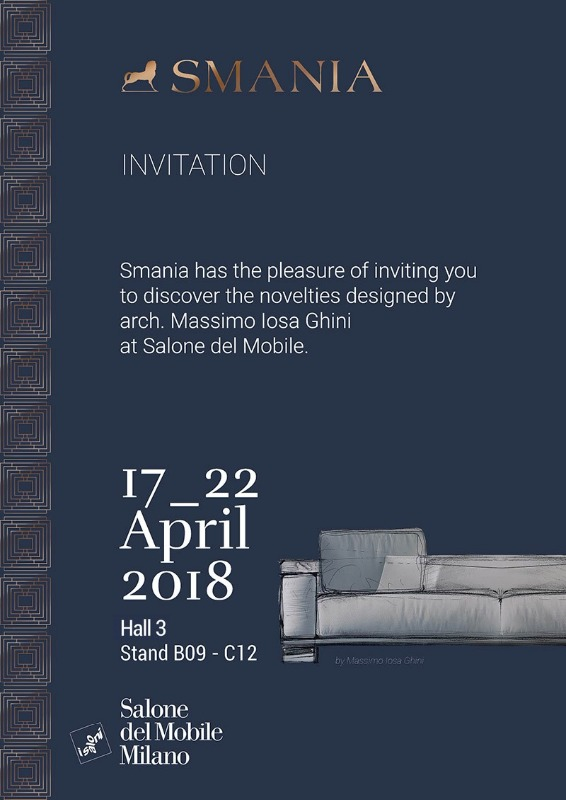 "SMANIA ITALY AT THE ""SALONE DEL MOBILE"" MILAN, HALL 3 BOOTH B9"