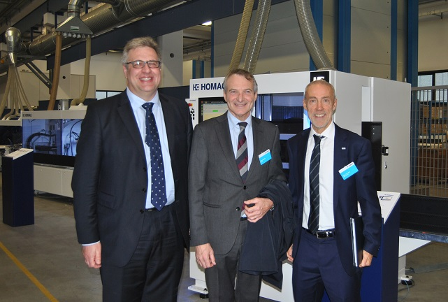 From Left, Tobias Schaible/Homag Vice President Central-South-Europe, Dario Corbetta/Acimall G.M. and Walter Crescenzi/Homag Italy A.D. Photo Datalignum