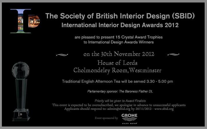 Society Of British Interior Design SBID The International Awards Winner 30th