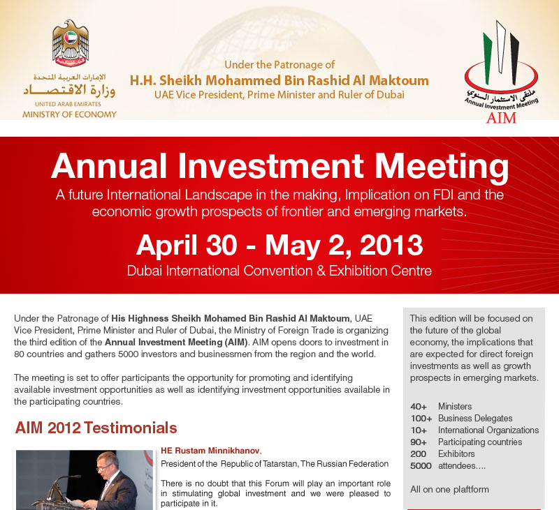 Annual Investment Meeting, Dubai/UAE, 30th April-2nd May 2013.