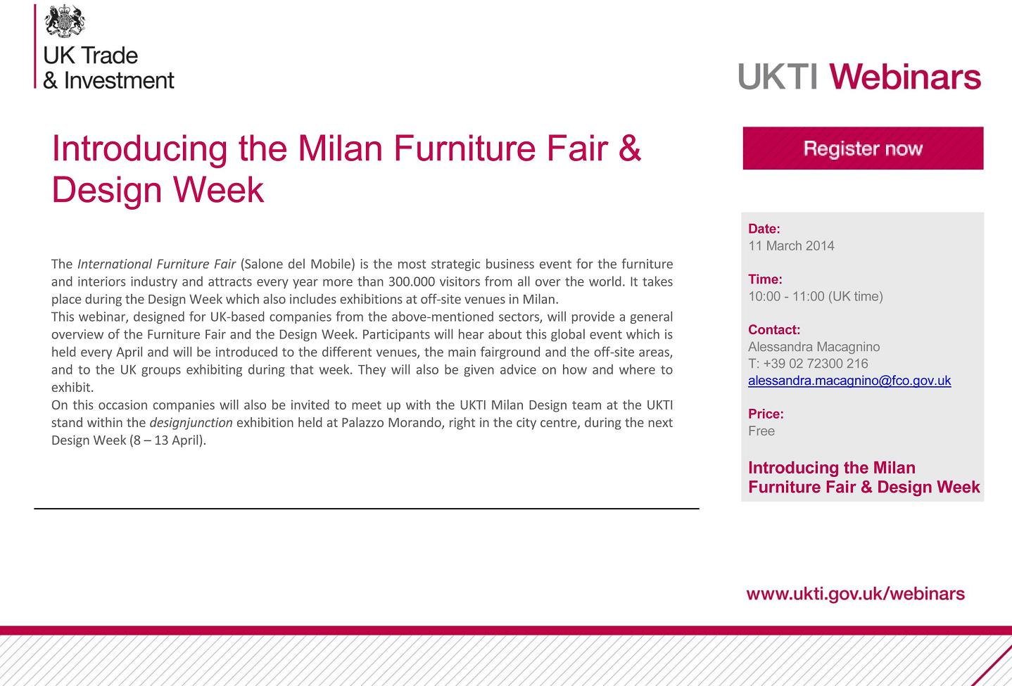 Introducing the Milan Furniture Fair & Design Week  at Palazzo Morando, Sant'Andrea Street, 8-13 April 2014.